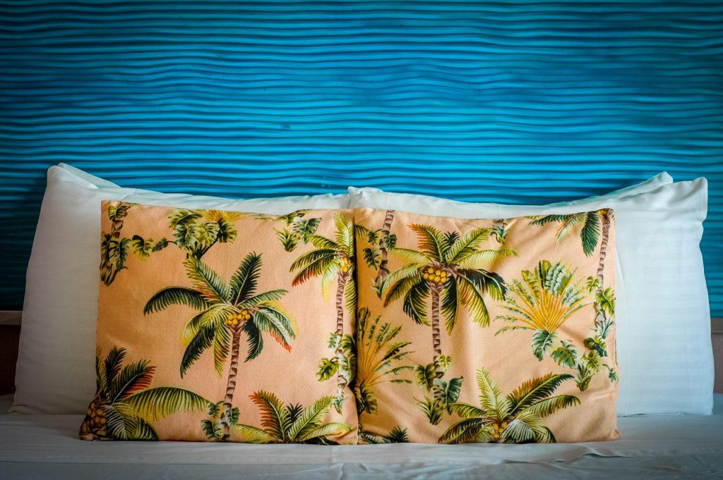 Palm tree print cushions