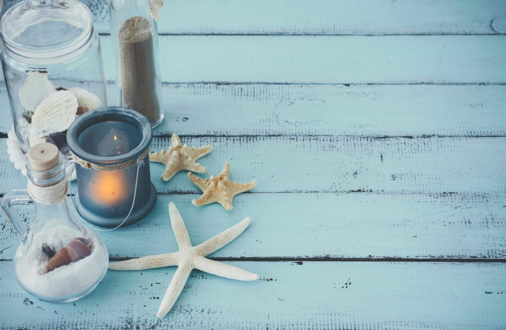 Nautical style props including starfish and shells