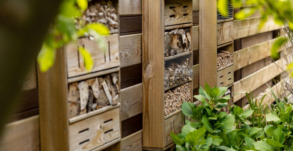 Home made bee hotel, in Dutch garden, mounted on a typical wooden garden fence. Bee hotels are places for solitary bees to make their nests. These bees live alone, not in hives.